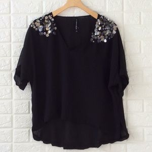 W118 by Walter Baker black blouse with sequins